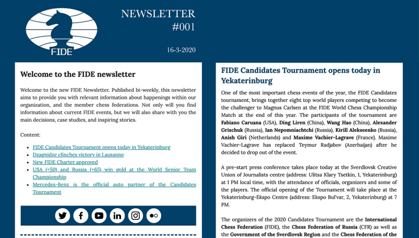 You can now subscribe to the FIDE newsletter