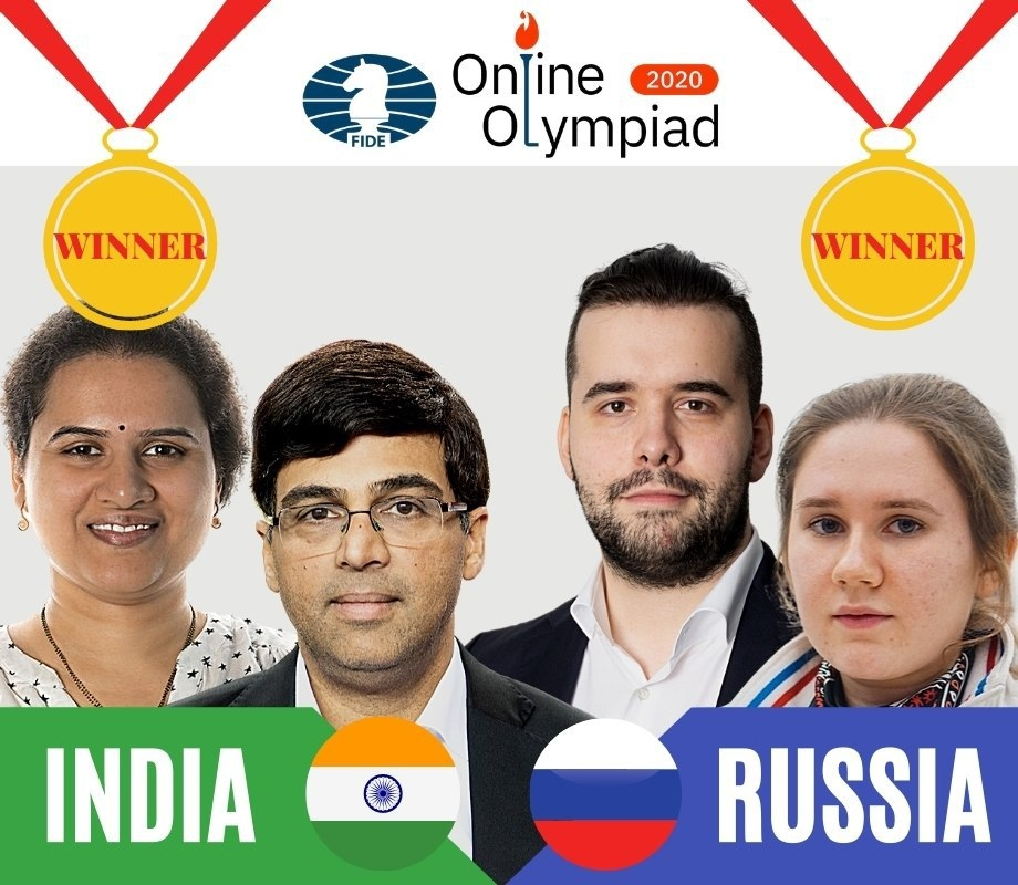 India and Russia declared joint winners of the Online Chess Olympiad