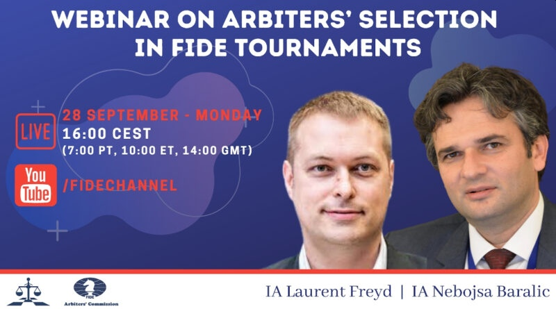 Webinar on Arbiters'selection in FIDE tournaments